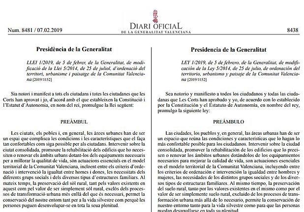 Comentario a la Ley 1/2019, de modificación de la Ley 5/2014, de Ordenación del Territorio, Urbanismo y Paisaje de la Comunitat Valenciana