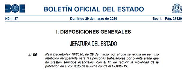 Real Decreto-ley 10/2020 por el que se regula un permiso retribuido recuperable para las personas trabajadoras por cuenta ajena que no presten servicios esenciales.