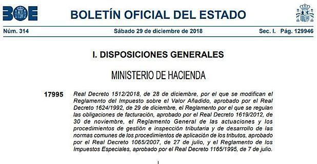Principales modificaciones introducidas en el Reglamento de los Impuestos Especiales por el RD 1512/2018