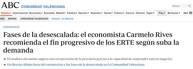 Fases de la desescalada: el economista Carmelo Rives recomienda el fin progresivo de los ERTE según suba la demanda