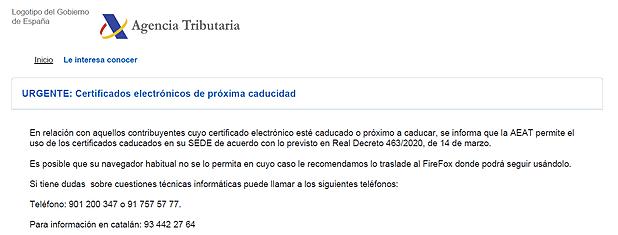 Certificados electrónicos de próxima caducidad.
